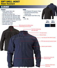 Bisley Softshell Jacket #BJ6060 With Logo Service, Black and Navy. A versatile Jacket with logo embroidery for Business and Clubwear. Top notch value with high Tech Functional Water resistant fabric, breathable membrane, bonded internal fleece lining, zippered pockets, waterproof zipper, reflective piping along the upper chest and back. Eyelit ventilation under both sleeves, sleeve cuff adjusters reduces water and wind entering over the wrist. Enquiries FreeCall 1800 654 990.