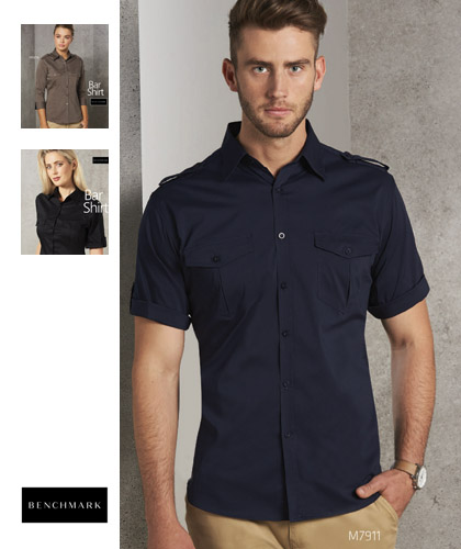 Outstanding selection of Bar Shirts for hospitality industry. The #M7912 is 60% Cotton, 35% polyester for heavy duty performance. Available in Black, Navy, Khaki, Mocha, Khaki and Stone. Logo embroidery and Printing service is available. The stretch fabric is comfortable and easier to move. Roll Up sleeves, removable epaulettes on shoulders with button tab. Mens and Ladies. Enquiries FreeCall 1800 654 990