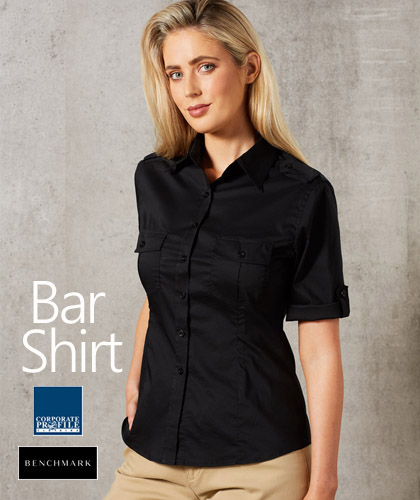 Outstanding selection of Bar Shirts for hospitality industry. The #M8913 is 60% Cotton, 35% polyester for heavy duty performance. Available in Black, Navy, Khaki, Mocha, Khaki and Stone. Logo embroidery and Printing service is available. The stretch fabric is comfortable and easier to move. Roll Up sleeves, removable epaulettes on shoulders with button tab. Enquiries FreeCall 1800 654 990
