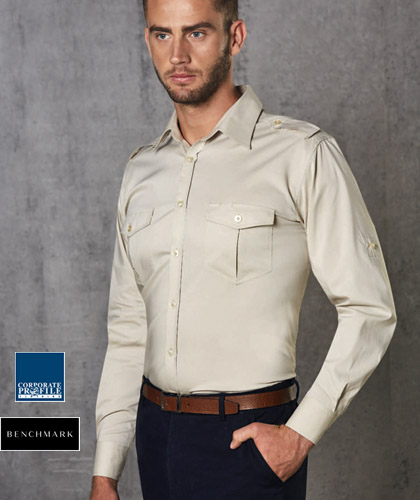 Bar Shirts with Stretch #M7912 Mens With Logo Service