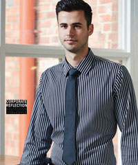Black-and-White-Bold-Stripe-Mens-Shirt-#3010L11-Uniform