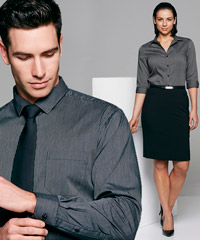 Black Silver Fine Stripe Shirt, Corporate.com.au