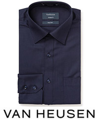 Corporate Navy Shirt #E148 Mini Herringbone With Logo Service