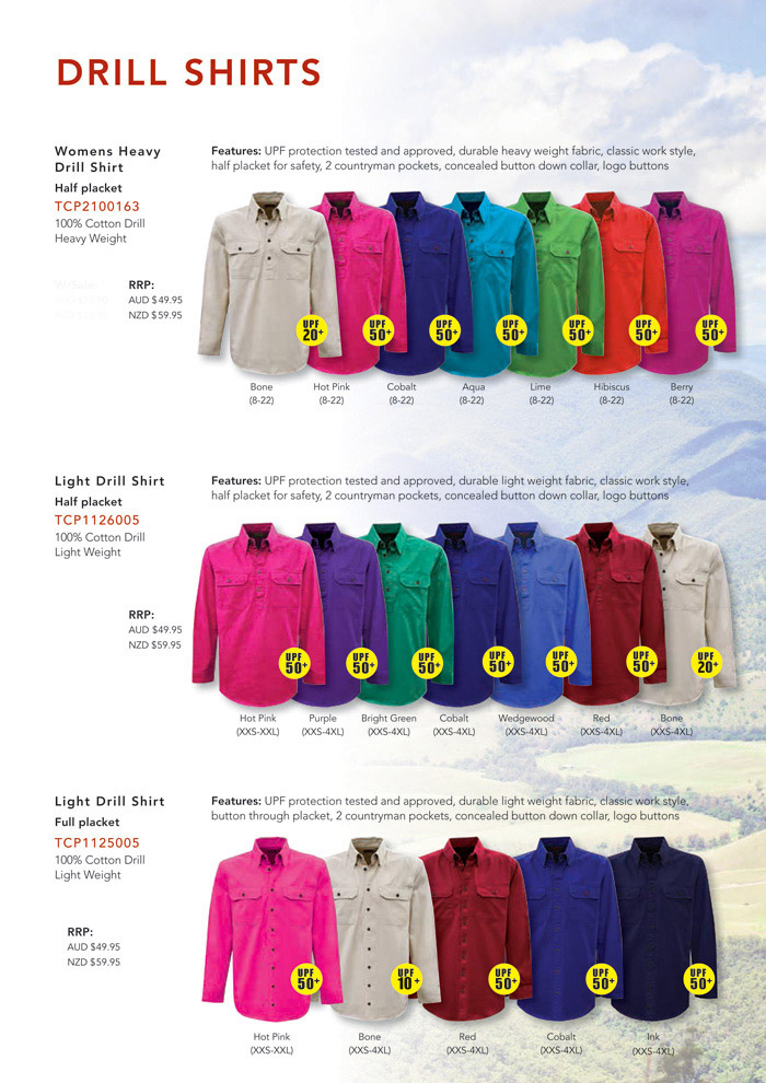 Corporate Sales for Country Work Shirts #TCP1126005 With Logo Service. Drill-Shirts-Colour-Card-A