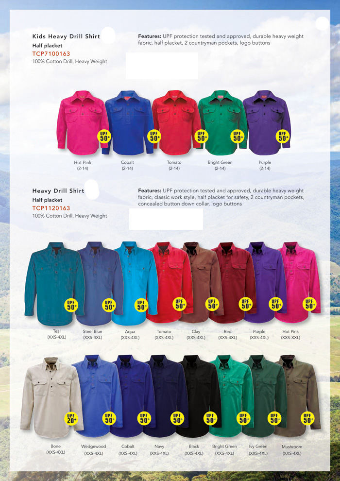 Agri Business Country Workwear Shirt #TCP1120163 With Logo Service. 16 Colours including Purple, Red, Bright Green, Bone, Clay, Teal, Steel Blue, Aqua, Tomato Red, Hot Pink, Wedgewood, Cobalt Blue, Navy, Black, Ivy Green, Mushroom. Main feature is the UPF protection tested and approved to Australian Standards. Durable, cotton drill fabric, classic work style, half placket for safety, 2 countryman pockets, concealed button down collar..Stock service, ongoing stock and excellent company logo embroidery service. Enquiries FreeCall 1800 654 990
