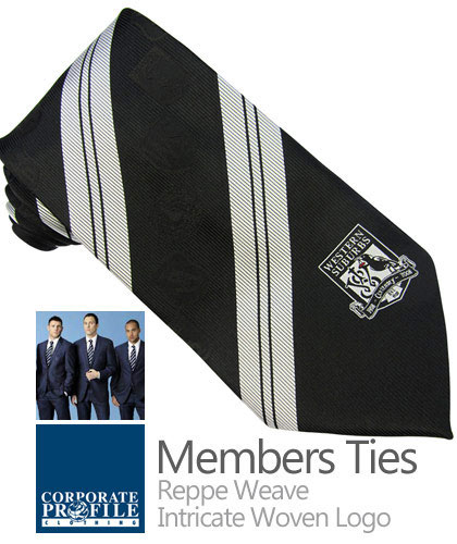 Fashionable Mens Bold Stripe Ties in Club Colours. Essential for Special Events, Anniversaries etc. Club Members Ties and Ladies Scarves made to order with high performance fabric, intricate logo and high quality finish. Ideal for Company uniforms and Club Members.