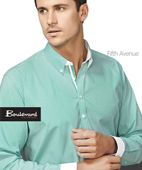 Boulevard Shirts, Fifth Avenue #40120 With Logo Service. Pencil Stripe Mens Long Sleeve #40120 and Ladies #40110 with White Contrast Trim inside the Collar, inside the Button Placket , inside the Collar Stand and White Cuff on Long Sleeve Shirts. Available Alaskan Blue, Dynasty Green, Melon, Patriot Blue. Try It On! For all the details the best idea is to call Renee Kinnear on FreeCall 1800 654 990