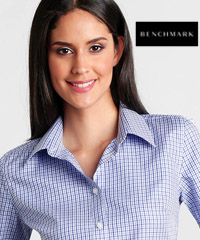 Gingham Two Tone Check Shirt Womens #M8320S Navy-White-Sky With Logo Service