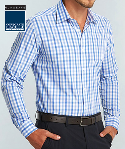 Soft Tonal Check Gloweave #1711L With Logo Service. Available in Blue Check and Pink/Blue Check. Perfect for Business or Smart Casual with Career Fit, Mitred cuff. The Fabric is high quality 60% Cotton, 40% Polyester with Sizes 37-50. The fabric is easy to iron. For all the details and to arrange a Sample for Inspection please call Renee Kinnear or Shelley Morris on FreeCall 1800 654 990