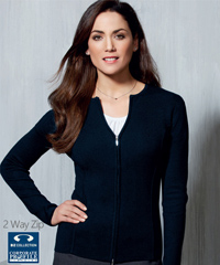 Biz for Business Wear! Ladies Cardigan With 2 Way Zip #LC3505 Corporate Uniforms and Outfits with Logo Service. Available in Navy, Black, Charcoal and Red. Lovely soft Viscose, Nylon with modern fashion style. Sizes S to 4XL. Ideal for business uniforms. Great Brands, Great Prices. For all the details please call Renee Kinnear or Shelley Morris on FreeCall 1800 654 990
