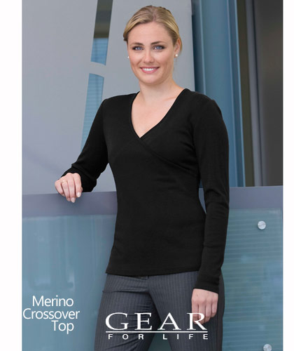 Merino Crossover Top Womens #WEGMX, Black and Navy, Sizes 8-22. 260 gsm 100 Percent Merino Wool, tapered fit