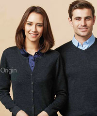Knitwear Origin Fine Merino Wool Ladies Cardigan #LC131LL. Coordinates with Mens Pullover #WP131ML. Black-Charcoal Fine Merino Wool, 12 guage