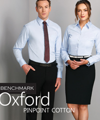 Inspect a Sample Service...Benchmark Corporate Shirts, Oxford Pinpoint Cotton Shirt #M7005L With Logo Service. Available in Blue. 100% Cotton. Mens Sizes 38-50 and Ladies 6-24. FreeCall 1800 654 990