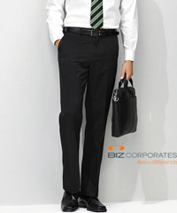 Black Pinstripe Pant #70212 Flat Front Pant for Corporate Uniform. For Business of all Sizes an Affordable Company Uniform. Comfortable Mens Pant for Company uniform package. Black, Navy, Charcoal. Sizes 77 REG to 122 REG. Shirts, Ties and Accessories are available. Mens 2 Button Jacket is also available separately. Enquiries Corporate Profile Clothing FreeCall 1800 654 990