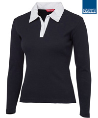 Ladies Rugby #3LR With Logo Service, Navy/White (001)  and Black/White (002) available Navy and Black with White Collar, 95% Cotton for comfort, and 5% Elastane for stretch, Features an open, button-less placket, Tailored waist, Side splits, Slim Fit