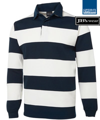 Striped Rugby #3SR With Logo Service, great relaxed corporate wear for travel, events, promotion campaigns, visitor gifts etc. Available Red/Navy and Navy/White. High performance 65% Polyester for durability, and 35% Cotton for comfort, 350gsm rugby knit fabric, Internal twill back neck dome, Straight hem with side splits, Rib cuffs, Classic Fit. Will last for seasons. Enquiries FreeCall Corporate Profile 1800 654 990