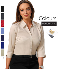 Best selling Benchmark Business Shirt #BS07Q With Logo Service. Available in 8 Colours, Black, Charcoal, Cherry Red, Mid Blue, Navy, Royal, Stone, and White. Comfortable fabric is 75% Polyester, 22% Cotton, 3% Spandex. Shirt features teflon fabric protection, repels water and oil based spills, breathable, durable, soft and gentle, shirt looks new longer. Superior wrinkle resistance. Also available in Short Sleeve Style #BS07S