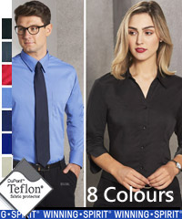 Best selling Teflon Stain Protect Shirt #BS07S Corporate Uniforms With Logo Service. Available in 8 Colours, Black, Charcoal, Cherry Red, Mid Blue, Navy, Royal, Stone, and White. Comfortable fabric is 75% Polyester, 22% Cotton, 3% Spandex. Shirt features teflon fabric protection, repels water and oil based spills, breathable, durable, soft and gentle, shirt looks new longer. Superior wrinkle resistance. Also available in Short Sleeve Style #BS07S