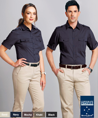 Uniform Shirt With Removable Epaulettes on The Shoulders #M7911 With Logo Service. Great appearance and comfortable to wear. Available Long Sleeve and Short Sleeve, Navy, Black, Khaki, Sand, Navy. 60% Cotton 35% Polyester 5% Elastane Stretch. Roll Up sleeve, chest pockets, removable epaulettes on the shoulders. For details and to arrange a sample for inspection please call Renee Kinnear or Shelley Morris on FreeCall 1800 654 990.