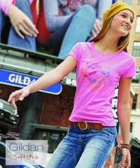 Gildan Softstyle T-Shirt #64000 and Azalea Pink Ladies #64000L With Printing Service. 18 colours available in Mens #64000 and Ladies #64000L styles. Contemporary styles for promotional, education and sport industry requirements. Gildan Corporate T-Shirt Distributor: FreeCall 1800 654 990