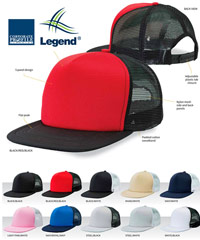 Legend Caps with Flat Peak and Mesh Back #4384 in Team Colours. Embroidery or Print Logo Service is available. 10 colour combinations. Nylon mesh side and back panels. Padded cotton sweatband. Great Brands. Great Prices. For all the details please call Renee Kinnear on FreeCall 1800 654 990.