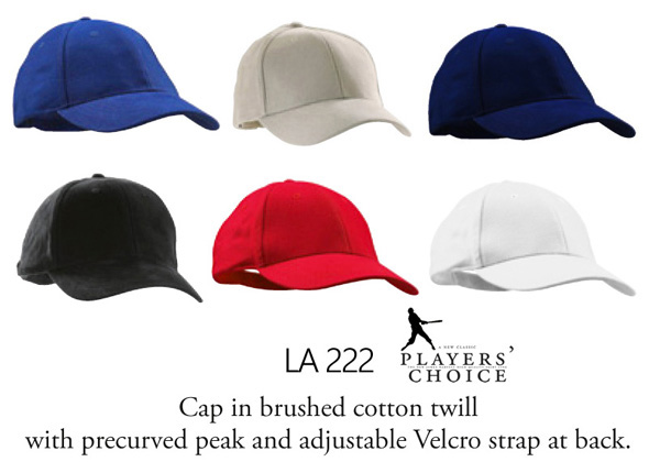 Inspect a Sample of the James Harvest Sportswear, Players Choice Series of Hats and Caps #LA222 with Logo Service. A good quality cap made of brushed cotton with an adjustable velcro strap at the back. 6 Colours, Black, Navy, White, Red, Royal, Sand. For all the details please call Renee Kinnear on FreeCall 1800 654 990.