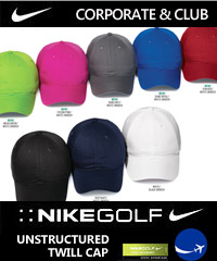 Have your Company, Business or Sporting Club logo branded on Nike Golf Unstructured Twill Cap #580087.  8  Colours. Enjoy wearing Nike Golf polo's and caps branded with your Company or Club logo. Corporate Sales Call Free 1800 654 990