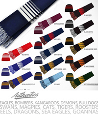 Footy Supporters Scarves in Local Team Colours. Logo Service available. Colours for Magpies, Tigers, Swans, Bulldogs, Eagles, Eels, Bombers, Cats, Blues, Roosters, Sea Eagles, Dragons, Warriors, Demons, Goannas, Crocs, etc. To request a sample for your club to inspect please call Renee Kinnear or Shelley Morris on FreeCall 1800 654 990