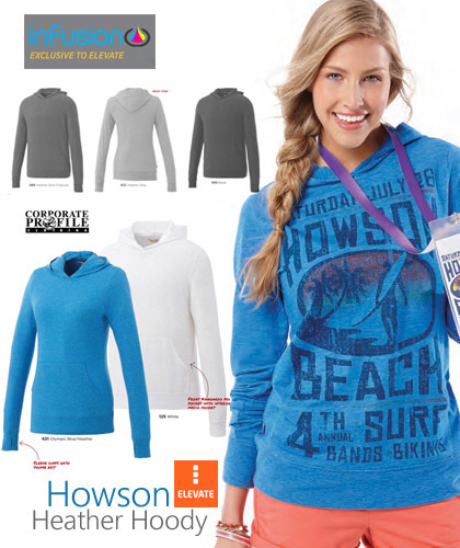 Howson Heather Hoody Men #18732 and Womens #98732 With Infusion Print. Notice the large print over the front of the hoody. Infusion print is exclusive to Elevate Corporate Apparel. Hoody colours include Heather Olympic Blue, Heather Dark Charcoal, Heather Grey and Black. Corporate Sales Free Call 1800 654 990