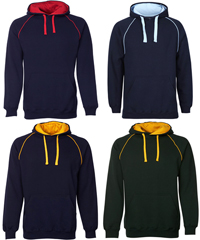 Gutsy Hoodies for Heavy Duty Workwear, School and Sport Industry. Inspect a Sample of JB's Contrast Fleecy Hoodie #3CFH With Logo Service. 12 Team Colours, 80% Cotton, 20% Polyester Performance Quality, durable 2x2 rib cuffs and hem, #3CFH Adults S-5XL and #3CFH Kids Sizes 4-14, no drawstring on the kids sizes. Enquiries FreeCall 1800 654 990