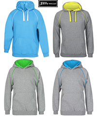 Hoodies Heavy Duty Workwear, School and Spors. Inspect a Sample of JB's Contrast Fleecy Hoodie #3CFH With Logo Service. 12 Team Colours, 80% Cotton, 20% Polyester Performance Quality, durable 2x2 rib cuffs and hem, #3CFH Adults S-5XL and #3CFH Kids Sizes 4-14, no drawstring on the kids sizes. For details please FreeCall 1800 654 990