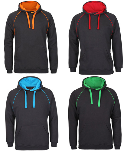 Top Value. Highly Recommended for Heavy Duty Workwear, School and Sport Industry. Inspect a Sample of JB's Contrast Fleecy Hoodie #3CFH With Logo Service. Includes Charcoal/Orange, Charcoal/Red, Charcoal/Aqua, Charcoal/Green. 80% Cotton, 20% Polyester Performance Quality, durable 2x2 rib cuffs and hem, #3CFH Adults S-5XL and #3CFH Kids Sizes 4-14, no drawstring on the kids sizes. For details please FreeCall 1800 654 990