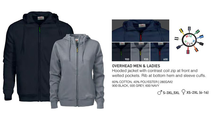 Hoodie #OVERHEAD With Logo Service Product Details