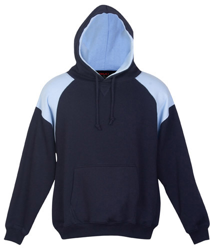 Inspect Navy-Sky Blue Hoodie #F303HP With Logo Service. Also available in 14 other team colours. High performance, warm hoodies for winter sports, midweight 320gsm. Features contrast panel shoulders with athletic raglan sleeve. Kangaroo pocket at front. Clubs Call Free 1800 654 990
