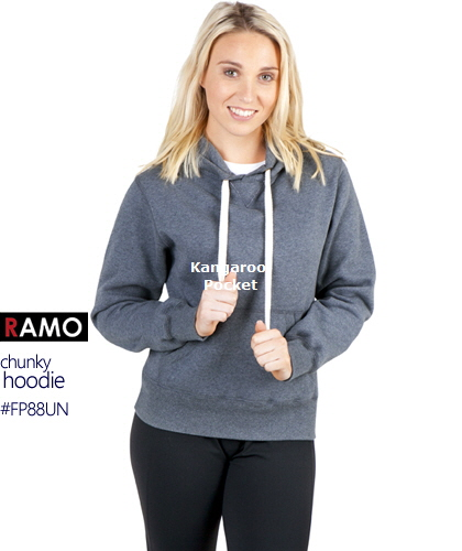 Warm, chunkweight Hoodie #FP88UN With Logo Print Service, also available in Mens #F808HP.Best value for Netball and Football Clubs.  Now in Nine Colours includes, Maroon, Royal, Navy, Black, Red, Grape Marle, Charcoal Marle, Blue Marl, Grey Marle, New Charcoal, Azure Blue. Has Kangarooo Pocket front, full lining inside the hood for superior warmth in cold weather, chunky natural colour cord.Great Brands. Great Prices. Enquiries Call Free 1800 654 990