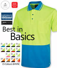 Corporate Workwear, Best in Basics, #6HVNC Hi Vis Non Cuff Traditional Polo With Logo Service. JB's Dri Moisture Wicking fabric 100% Polyester for durability160gsm micro mesh fabric JB's Dri™ moisture wicking fabric designed to help keep you cool and dry. Complies with Standard AS/NZS 4399:1996 for UPF Protection(UPF 50+). Complies with Standards AS/NZS 1906.4:2010 and AS/NZS 4602.1:2011 Day only. Reinforced chest Pocket with pen insert. Straight hem with side splits. Easy care fabric. Quick drying. For all the details on Corporate Hi Vis Workwear the best idea is to call Renee Kinnear or Shelley Morris on FreeCall 1800 654 990.