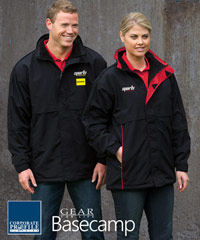 Heavy Duty, Contrast Basecamp Anorack #AN with Logo Service. Top performance, quality jackets for Company Work Uniforms or Sporting Club Teamwear. Jackets are lined with warm polar fleece lining. Hard wearing, Nylon ottoman textured outer shell. Storm flap, warm pockets, hidden tuck away hood. Mens XS - 3XL
