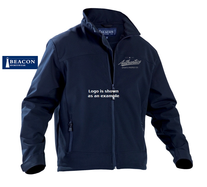 Corporate Soft Shell Jacket #PERKINS With Logo Service. Vesatile Jacket by Beacon Sportswear.Wind and water repellant. Available Black and Navy, Mens (S-3XL, 5XL) and Ladies (8-18).