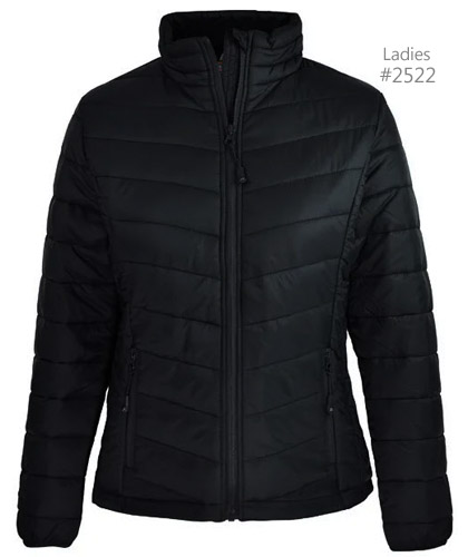 One of the best value Puffer Jackets for Corporate and Club Member Mens #1522 Ladies #2522. Available in Black and Navy, large range of sizes. The Buller Puffer is light and warm with padding. Zip pockets, elastic cuffs,self fabric chin guard, interchangeable zip pullers sold separately. Enquiry FreeCall 1800 654 990