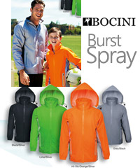Burst Sport Spray Jacket #CJ1430 With Logo Service. Available Black/Silver, Orange/Silver, Grey/Black, Lime/Silver. Shower proof zip through jacket with a hood, front zip pockets, vented back for breathability, nylon shower proof outer shell. Enquiries: FreeCall 1800 654 990