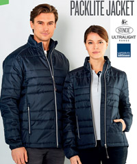 A light padded jacket with rip stop fabric. Panel across the chest for company logo placement. Packlite #3045 in Black and Navy in Sizes 2XS to 5XL. Stand up collar with soft chin guard, storable hood with fastening, high loft for excellent insulation. Side pocket with zipper closure. drop tail design for extra wind protection on lower back. Logo embroidery service. Corporate Profile Clothing FreeCall 1800 654 990