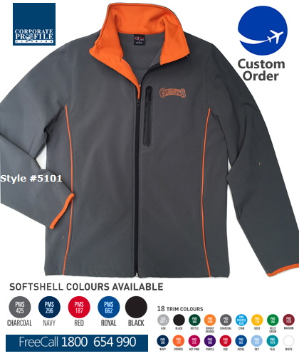 Custom-SoftShell-Jacket-#5101-in-Your-Choice-of-Colours. Water repellant and wind resistant, fabric is lined with warm fleece on the inside. Mens Ladies and Kids Sizes. FreeCall 1800 654 990