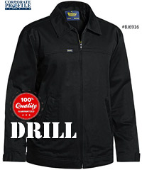 Mens Drill Jacket with Cotton flannelette lining, available in Black and Navy Sizes XS-6XL. #BJ6916 Internal cotton rib cuffs, Nylon zipper front fastening with plastic slider, 2 angled side welt pockets, Internal waist patch pockets, Internal left side patch phone pocket, Adjustable button tab sleeve cuff. FABRIC,100% Cotton Drill, 240gsm with Liquid repellent finish, 100% Cotton Flannelette Lining 170 gsm. Enquiry FreeCall 1800 654 990
