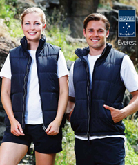 Everest Vest for Workwear, Sport and Recreation #JK47 With Logo Service. Light, versatile Pongee outer shell with polyester inners. Chunky front zipper.