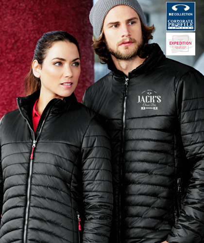 Corporate Puffer Jacket #J50M and Ladies Corporate Puffer Jacket #750L With Logo Service, available Black and Navy. Ultra Lightweight and Silky Soft To Touch Touch. The outer shell is 100 percent Nylon Ripstop material, lightly water repellant. The inside lining is 100% Hi Loft Polyfill, warm and ultra lightweight. High collar stand with chin guard, internal cuff elastic, inside left chest pocket and zippered hand pockets. Coloured zippers are available as an add on to accent your logo. For details and to examine this Puffer Jacket #J750M FreeCall 1800 654 990
