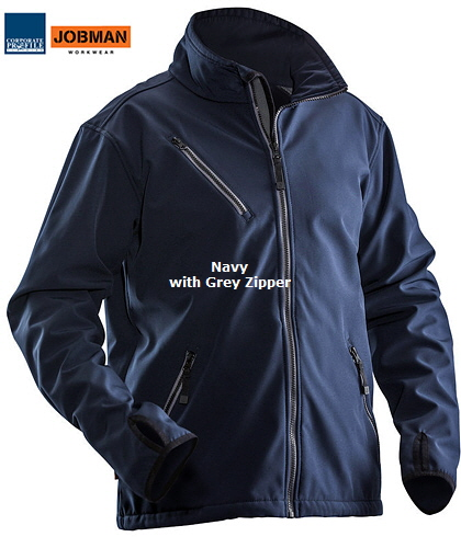 Jobman Professional Workwear in Australia, Soft Shell Jacket #1201 (Navy 6700) with Logo service. Orange, Royal Blue, Navy, Dark Grey, Black. Inspect a sample #1201 for your Company. International web site is www.jobman.se Safety, comfort and security of high quality professional workwear. Enquiries please call Renee Kinnear or Shelley Morris on FreeCall 1800 654 990