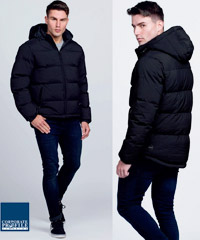 Fashion style Black Long Puffer Jacket corporate casual with logo service. Water repellant, Rating 10,000, Size XXS-3XL and 5XL. Corporate Sales enquiry FreeCall 1800 654 990