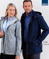 High quality, available Black, Navy and Silver. Mens and Ladies. Long Softshell Jacket, Bonded breathable, 3 Layer with natural Stretch. Waterproof 10,000mm, Windproof, Super Soft. Semi Fitted style. Ladies Size 8-22 and Mens S-3XL and 5XL. Corporate Profile Clothing FreeCall 1800 654 990