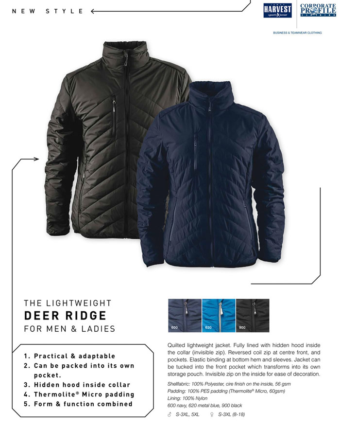Corporate Jacket Padded #DEERRIDGE With Logo Service Product Details