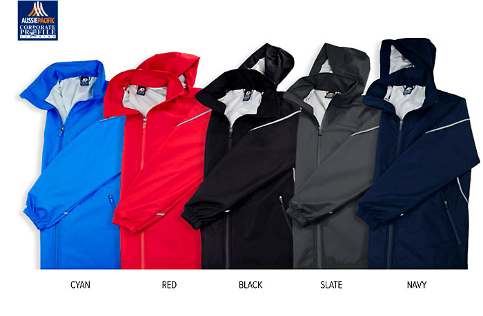 Corporate Golf Style Jackets $#1524 in Red, Black, Navy, Blue, Slate With Logo Service. Perfect for Australian conditions. Have your Company or Club logo embroidered on these outstanding outdoor jackets #1524 available in Navy, Black, Red and Cyan Blue. Top notch Performance, Water and Rain Resistant fabric, Sporty Reflective Tape down the Sides, on the back of the Collar and around the Sleeves. Soft to touch fabric, chin guard to avoid rubbing in cold conditions, hidden hood folds away, professional appearance for any company special event. For more details Leigh Gazzard Corporate Profile Clothing, FreeCall 1800 654 990.
